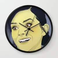 emma watson Wall Clocks featuring Emma Watson funny face by Esther Cerga