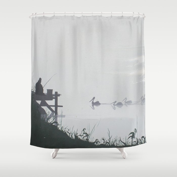 Misty Morning on the Clarence (1994) Shower Curtain