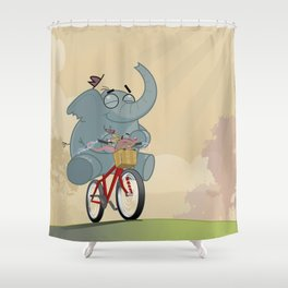 Mr. Elephant & Mr. Mouse 'Bicycle' Shower Curtain