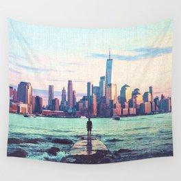 New York City Skyline Vibes Wall Tapestry