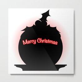 Christmas Pudding SIlhouette Metal Print