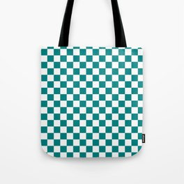 White and Teal Green Checkerboard Tote Bag