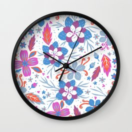 Floral Pattern, Flowers Illustration Wall Clock