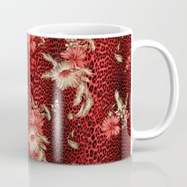 Wild Red Leopard and Flowers Coffee Mug