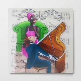 African American 'Apollo Theater Sheet Music Portrait No. 1' Piano Music by Miguel Covarrubias Metal Print
