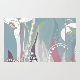 snowdrops & lily of the valley spring pattern drawing Rug