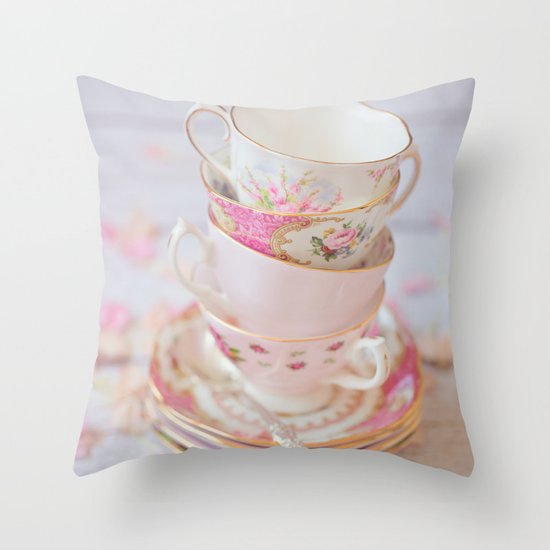 Shabby Chic Vintage Cups in Pink Throw Pillow by Debbie Wibowo Society6