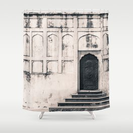 Mughal Indian Black and White Architecture in Red Fort, New Delhi Shower Curtain