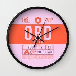 Luggage Tag B - ORD Chicago USA Wall Clock