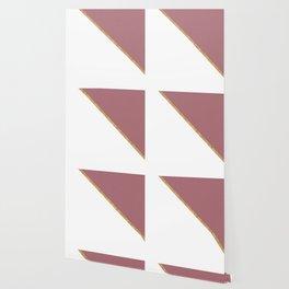 Trendy Glitter Rose Gold and White Triangle Design Wallpaper