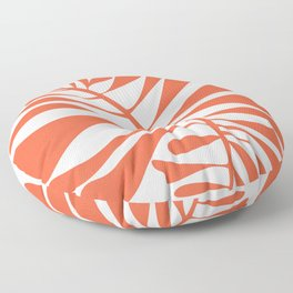 White Red Tropical Leaf Floor Pillow