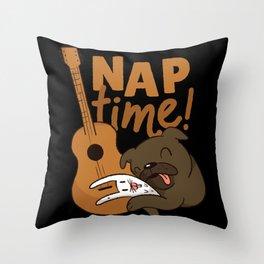 Nap Time Dog and Guitar Sleeping Sleep Throw Pillow