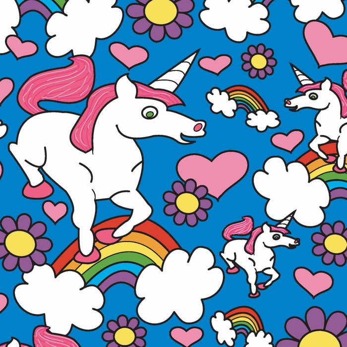 Unicorns and Rainbows Pattern (Royal Blue Background) Leggings