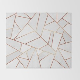 White Stone & Copper Lines Throw Blanket