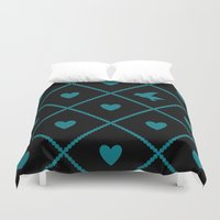 malachite Duvet Covers featuring Always Near (from the Valentine set) (colors: midnight malachite) by penina