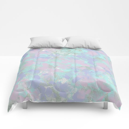 Soft Painterly Floral Abstract Comforters