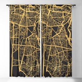 BEIRUT LEBANON GOLD ON BLACK CITY MAP Blackout Curtain