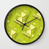 pasta Wall Clocks featuring Pasta Pattern by Zoe Lotus