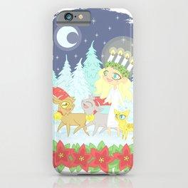 Lusse Bride, Saffron the Cat, and the Yule Goats iPhone Case