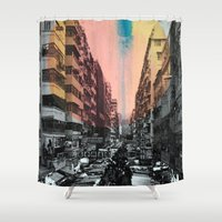 hong kong Shower Curtains featuring Hong Kong Streets by jennymadeleine