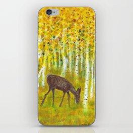 Deer Grazing in a Grove of Golden Aspen Trees iPhone Skin