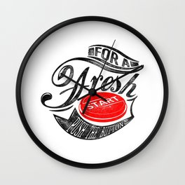 For a fresh start push button black and red Wall Clock