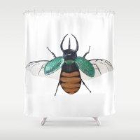 atlas Shower Curtains featuring Chalcosoma atlas by Caitlin Krupinski