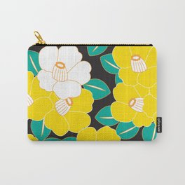 Japanese Style Camellia - Yellow and Black Carry-All Pouch