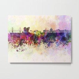 Copenhagen skyline in watercolor background Metal Print