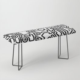 black & white doodle Bench
