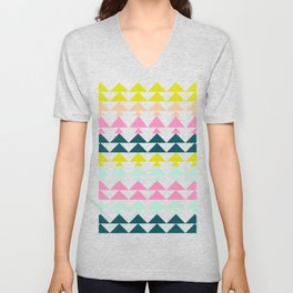 Triangle Pattern in Cheerful Bright Holiday Colors Unisex V-Neck