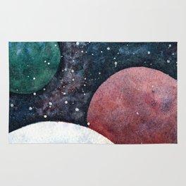 Journey through the cosmos. Alien planet watercolor Rug