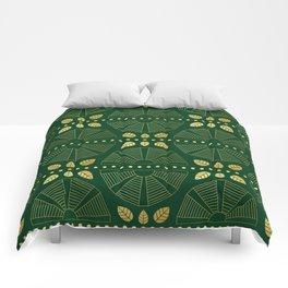 Emerald Art Deco Fan Comforters