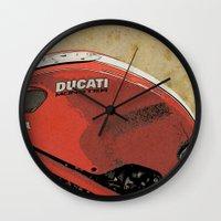ducati Wall Clocks featuring Ducati Monster by Larsson Stevensem