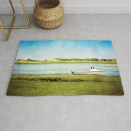 Fishing Boat with Blue Sky and Green Grass Rug