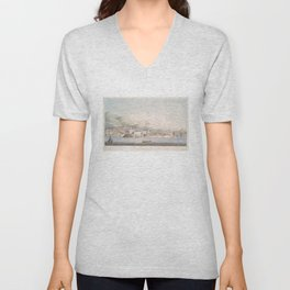 Vintage Pictorial View of Christiansted St Croix (1839) Unisex V-Neck