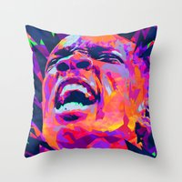 nba Throw Pillows featuring ERIC BLEDSOE: NBA ILLUSTRATION V2 by mergedvisible