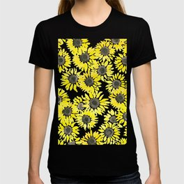 Sunflowers watercolor pattern T-shirt