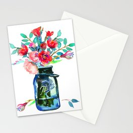 Red Peonies in Mason Jar Stationery Cards
