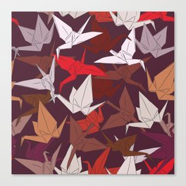 Japanese Origami paper cranes symbol of happiness, luck and longevity, sketch Canvas Print