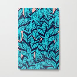 Blue Banana Leaf Pattern Metal Print