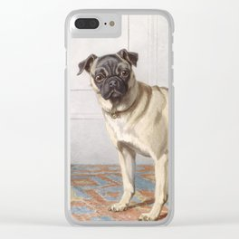 Vintage Pug Painting Clear iPhone Case