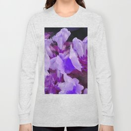 Snapdragons In Shades Of Purple Abstract Flowers Long Sleeve T-shirt