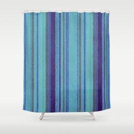 Retro Stripes Purple Avocado Blue Grunge Primitive Stripe Shower Curtain