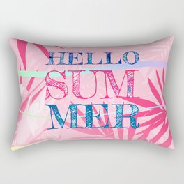 Hello Summer Typography Tropical in Pink Rectangular Pillow