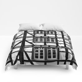 Black and white medieval street scene Comforters