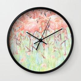 Flamingo Meadow Wall Clock