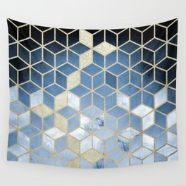 Shades Of Blue Cubes Pattern Wall Tapestry