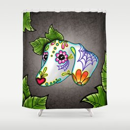 Dachshund - Day of the Dead Sugar Skull Wiener Dog Shower Curtain