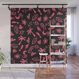 Retro Neon Pink Black High School Doodles Wall Mural